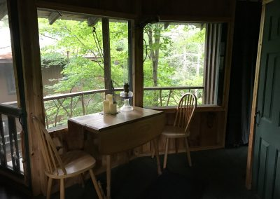 Table and chairs in the treehouse